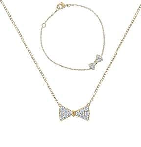 Eliot - 66042z - Coup de Cœur - Parure Collier et Bracelet Femme - Nœud Papillon - Plaqué Or - Oxyde de zirconium
