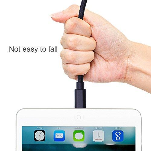 Ankoda® 3Pack 3ft/6ft/10ft iPhone Ladegerät Kabel, Nylon geflochtenes Lightning Kabel für iPhone 7 7Plus 6S 6S Plus 6 6Plus 5S 5C 5, iPad Pro Air, iPad Mini 2 3 4, iPod Nano und mehr (schwarz) - 5