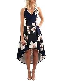 62068cf4d68 SOMESUN Damen Kleid Abendkleid Knielang Dress Cocktailkleid Elegant  Festlich Asymmetrisches Partykleid Boho Maxi Kleid