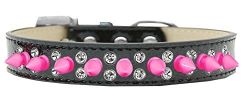 Mirage Pet Products Double Crystal und hell rosa Spikes Hundehalsband schwarz, EIS, Gr. 12