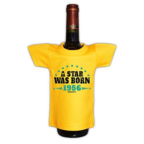 (Mini T-Shirt - A Star was born 1956 - Originelle Verpackung - Geschenkidee - Geburtstag - Party Gag - Flaschenverpackung)