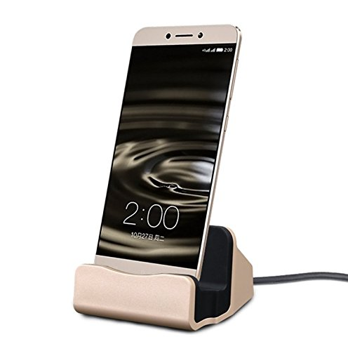 EX1 Micro USB Ladegerät Ladestation Dockstation für Samsung Galaxy S4/S5/S6/S6 Edge/S6 Edge Plus/S7 Edge/Note 3/Note 4/Note 5, HTC One, Motorola, Sony Xperia und andere Android Smartphones mit Micro USB Anschluss (Gold) (Cricket Galaxy S4)