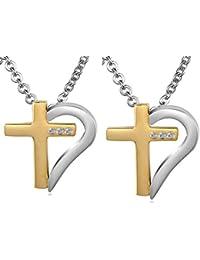 Daesar Conjunto de Joyería Collar Colgante Acero Mujer, Media Corazón Cruz Eslabón Cadena Circonita Rompecabezas Colgante