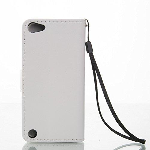 iPhone Case Cover Schmetterlings-Blumen Geprägte Fall Retro Premium-PU-Leder-Kasten-Schlag-Standplatz-Fall Magnetic-Mappen-Kasten mit Handschlaufe Cash Card Slots für iPod-Note 5 ( Color : Brown , Siz White