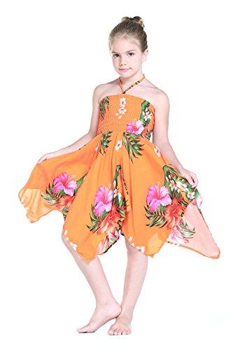 Nia-gitano-Botn-desigual-Hawaiian-Luau-vestido-en-naranja-4