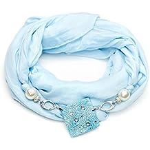 Sciarpa gioiello, foulard donna color azzurro con dettaglio in argilla polimerica. Con Swarovski Prodotto artigianale