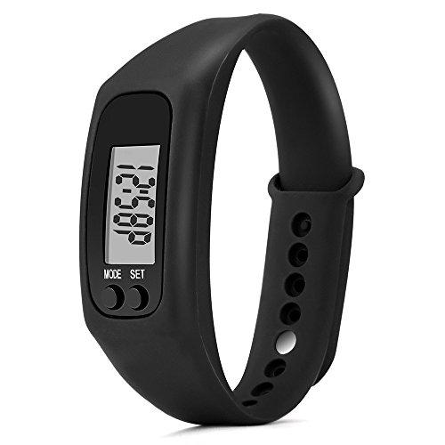 BBring Pedometer Elektronische Uhren Run Step Watch Armband Schrittzähler Kalorienzähler Digital LCD Walking Distance Fitness Tracker Uhren (Schwarz) (Einstellbare Sleep-system)