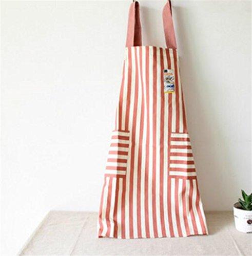 Kolimo Fashion Full Schürze Japanese Style Sleeveless Stripe Schürze mit 2 Taschen (Hellrot)