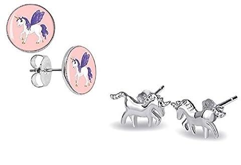 Nina Selles® 2 Paar Kinder Ohrringe 925 Silber Mädchen Ohrstecker