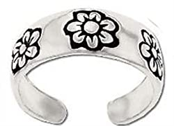 1PK Sterling Silver toe ring with engraved flower petal