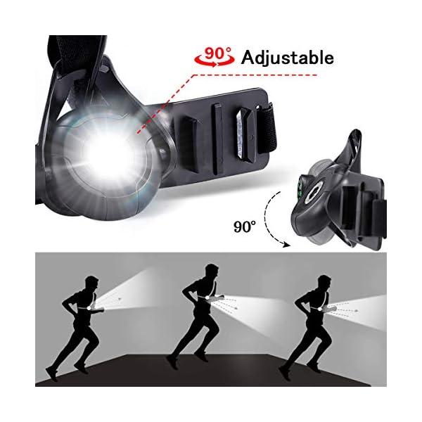 Running Light Ricaricabile USB, SGODDE Luce Corsa 3 Modi 500 LM Impermeabile con Bussola per GoPro, Leggero, Comodo e… 4 spesavip