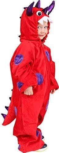 ngen Unheimlich Rot Monster Drachen Halloween Welttag des Buches-Tage-Woche Karneval Kostüm Kleid Outfit - Rot, 8-12 Years (140/152cm) ()
