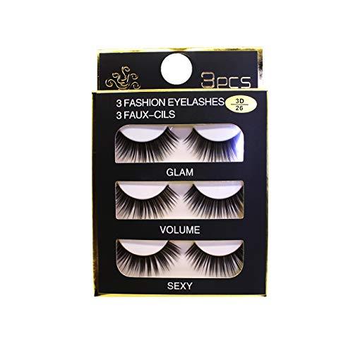 FLAWISH 3D False Eyelashes Thick Artificial Long Eyelash Extention, Box of 3 Pair