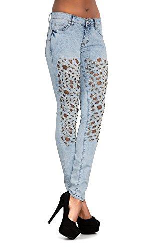 LustyChic -  Jeans  - Donna Light Blue Lasercut Studded Jeans