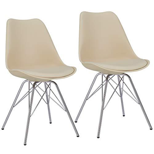 Duhome Esszimmerstuhl 2er Set Küchenstuhl Beige Creme Kunststoff mit Sitzkissen Stuhl Vintage Design Retro Farbauswahl 518J