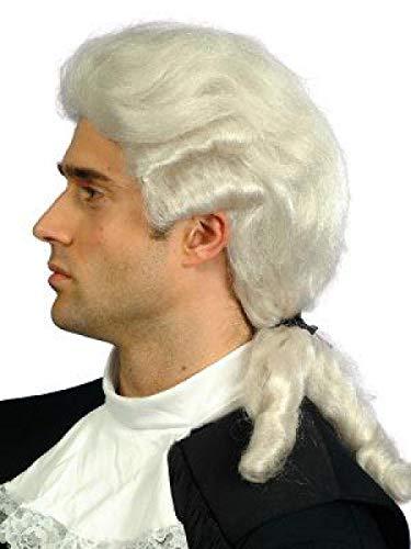Schaufensterpuppendiscount Perücken Herren Mittel Weiß Polyester Toupiert gewellt Karneval Barock...