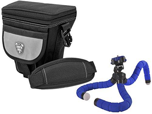 Foto Kamera Tasche Southbull grey M im Set mit flexiblem Tischstativ Rollei blue