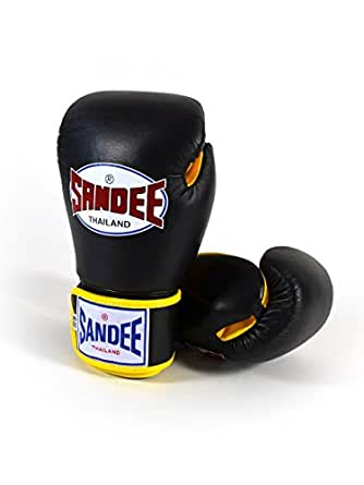 Sandee Leather Authentic Boxing Gloves Black/Yellow