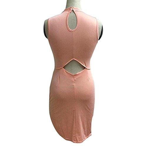 Robe Femme, Koly Femmes Robe de soirée sans manches à col roulé Bodycon Club Sexy Cocktail Rose
