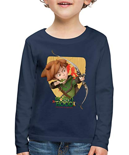 Spreadshirt Robin Hood Schießt Mit Seinem Bogen Kinder Premium Langarmshirt, 122/128 (6 Jahre), Navy Robin Hood Shirt
