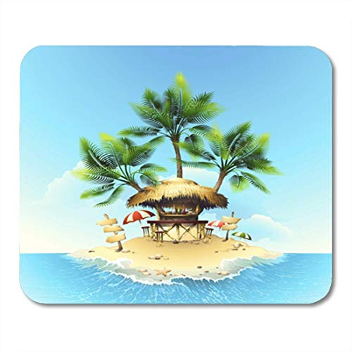 Gaming Mauspads, Gaming Mouse Pad Yellow Beach Tropical Bungalow Bar on Island in Ocean House Party Romantic 11.8