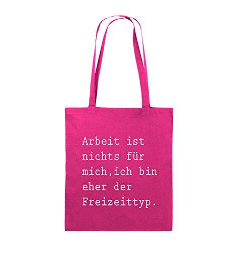 Comedy Bags - Arbeit ist nichts für mich, ich bin ehr der Freizeittyp - Jutebeutel - lange Henkel - 38x42cm - Farbe: Schwarz / Silber Pink / Weiss
