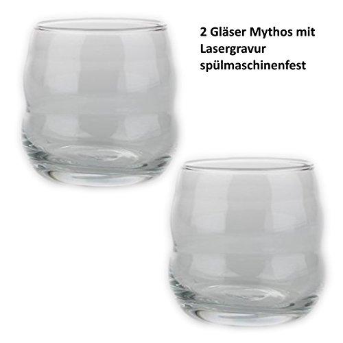 2 Gläser - Mythos Weiß - mit Blume des Lebens - Lasergravur - NEU spülmaschinenfest