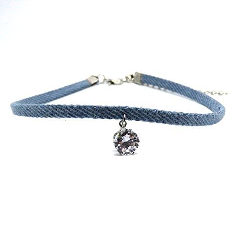 SANWOOD Lady Girl Punk Stylish Zircon Pendant Necklace Jean Denim Short Choker Necklace (Light Blue)