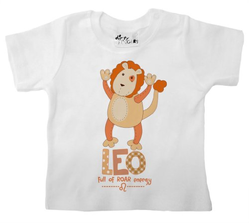 Price comparison product image Dirty Fingers,  Leo,  full of ROAR energy,  Zodiac Sign,  Baby T-shirt,  0-6m,  White