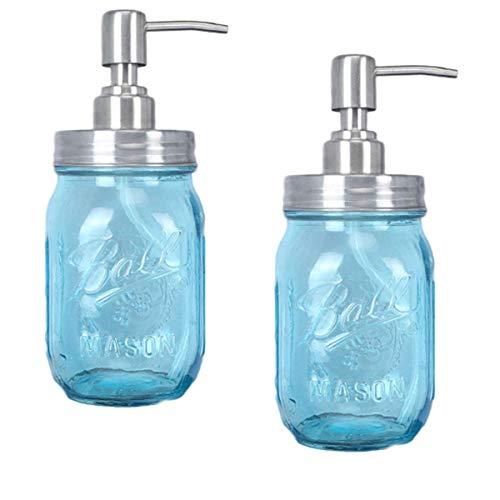 Falehgf Granja de Mason Jar Soap Dispenser - 473 ml, Pintado, con la Boca Normal y dispensador de jabón, Tapa de la Bomba - Hecho de Acero Inoxidable para Cuartos de baño