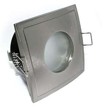 10x Bad Deckeneinbaustrahler Deckeneinbauleuchte Einbaurahmen Einbaustrahler Einbauleuchte Einbauspot Einbauring Metall Aquarius-S Eckig IP44 Farbe: Edelstahl gebürstet geeignet für LED Halogen GU10 MR16 230V 12V