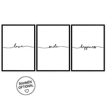 3er Set: love – smile – happiness – Kunstdrucke auf wunderbarem Hahnemühle Papier DIN A4 -ohne Rahmen- schwarz-weißes Bild Poster zur Deko im Büro Wohnung – als Geschenk zum Geburtstag etc.