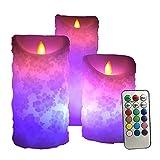 WYMI RGB sans Flamme Electronique Bougies Lumières LED Bouche onduleux 18 Touches Télécommande à Bougie lumière de Batterie pour fête d'anniversaire dîner à la lumière des Bougie Mariage 3 pcs
