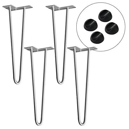 HENGMEI 4x Haarnadel Tischbeine Tischkufen Tischgestell mit 2 Stangen inklusive Freie Bodenschoner für Kaffeetisch, Tisch und Schreibtisch, Silber (41cm)