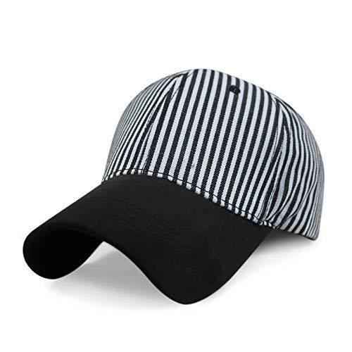 Gorra de béisbol a Rayas Moda Exterior Simple Visera Gorra en Blanco y Negro a Rayas Rayas en Blanco y Negro