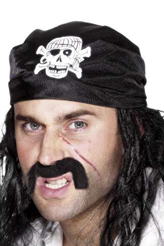 (Smiffys Unisex Piraten Totenkopf Kopftuch, One Size, Schwarz, 25590)
