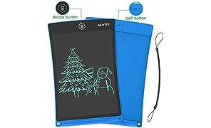 NEWYES Schreibtafel LCD Writing Tablet, 8,5 Zoll, Papierlos für Schreiben Malen Notizen (Blau)