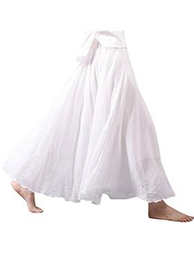 Nlife Mujeres algodón Lino Double Layer elástico cintura largas máxima de rock