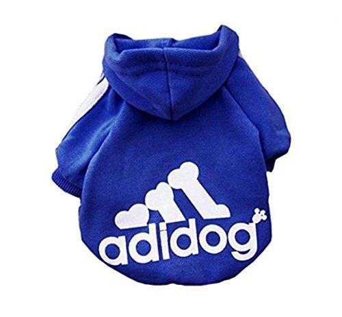 Rdc Pet Adidog Dog Hoodies, Apparel, Fleece Basic Hoodie Sweater, Cotton Jacket Sweat Shirt Coat for Small Dog & Medium Dog & Cat (Navy Blue,XXL)