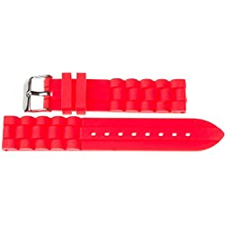 22mm Kaiser Watches Silicone Watch Strap Band Red 22mm Buckle: White