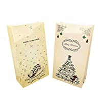 YONSIN 24 Christmas Kraft Gift Bags with Assorted Christmas Prints for Kraft Holiday Paper Gift Bags, Xmas Gift Bags, Classrooms and Party Favors 1-24 Number Stickers Jute Cord 24 Clothespins