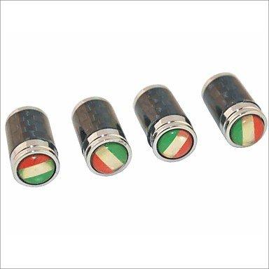 DBRGR® in fibra di carbonio fai da te bandiera italiana scolpitura universale cappucci delle valvole d'aria - nero (4 pezzi) - Valvola In Fibra Di Carbonio