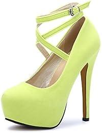 fe0bb7b0d30c6 OCHENTA Femme Escarpins Bride Cheville Sexy Talon Aiguille Plateforme Epais  Fermeture Lacets Chaussures Club Soiree