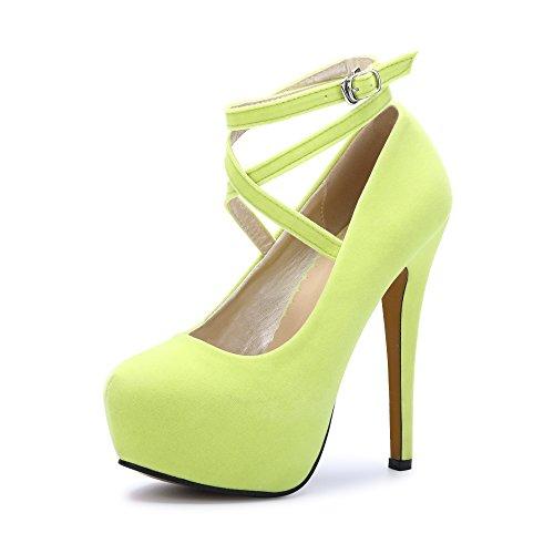 Ochenta da donna con cinturino alla caviglia tacco a spillo piattaforma party Dress Shoes (Beige Sole) Noen Yellow