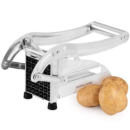 Andrew James Pommesschneider aus Edelstahl | Gemüse Schneider | Pommes Frites Schneider | 2 Austauschbare Schneideinsätze | Rutschfeste Gummifüße