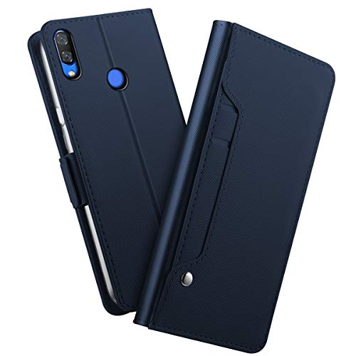 fitmore Xiaomi Redmi Note 7 Pro Wallet Hülle Case, Slim PU Leather Excellent Stand and Card Holders Wallet Hülle Case Cover Series Protective Hülle Case Compatible with Xiaomi Redmi Note 7 Pro -Blue (Custom Light Switch)