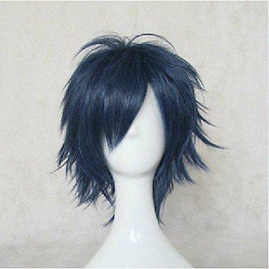 HJL-droites courtes perruques parti perruques d'animation de qualit¨¦ sup¨¦rieure bleu cosplay perruque synth¨¦tique cheveux perruques homme , blue
