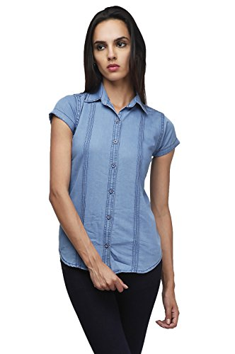 Angeles Womens Blue Casual Denim Shirt (LBLUS568_Medium)  available at amazon for Rs.199