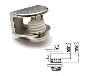 2 x Pince Clip Pour Support Fixation Étagère Glace en Verre
