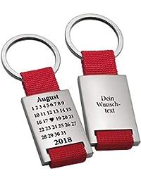 Geschenke 24 Schlüsselanhänger Schönster Tag - gravierter Schlüssel Anhänger im Kalender Design - mit Wunschtag, Monat und Jahr personalisiert - optional mit Wunschgravur